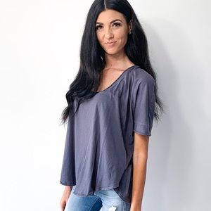 Free People Gray Oversized Scoop Tee Shirt